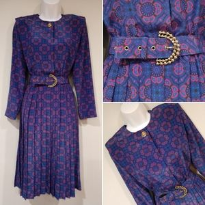 Vtg 80s Leslie Fay pleated belted dress sz 6p